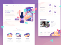 Delivury Landing Page flat screen package delivery services delivery box app gradient illustrations character header website landing page illustration
