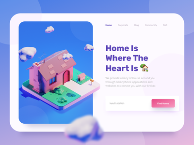 Home Landing Page Header website design design ui 3d character flat gradient landing page illustrations isometric home