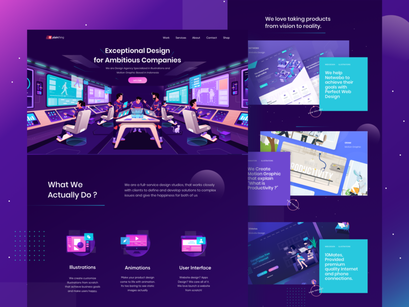 Our New Website 🙌 spaceship purple design studio astronaut space 3d header character screen gradient flat landing page illustration