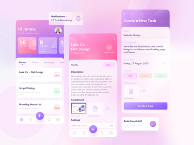Simple Task App to do app screen flat gradient task management ux ui app application task