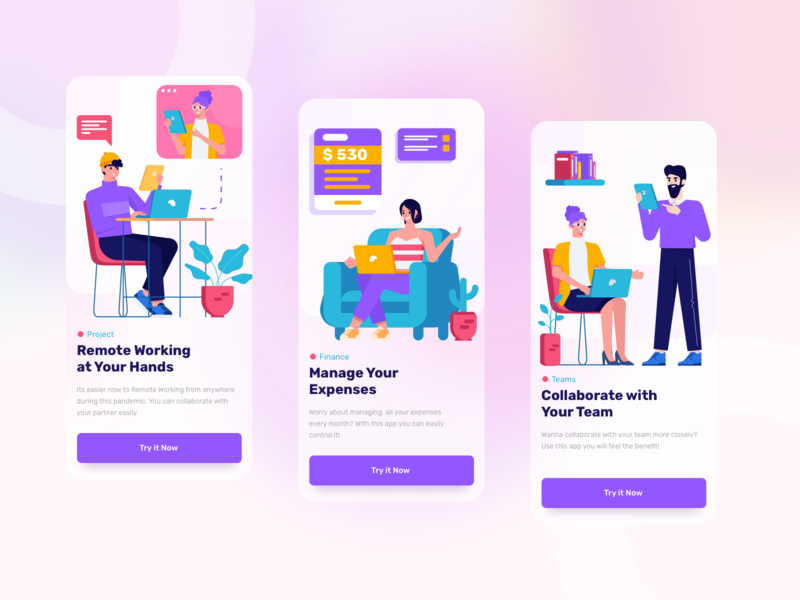 Vavivu Business & Teamwork Illustrations onboarding business app ui design character screen gradient flat illustration