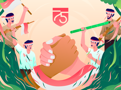 Indonesia Independence Day 🇮🇩 forest independence day ui header character screen gradient flat landing page illustration