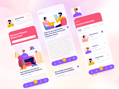 Book Library App Design library onboarding flat screen app illustrations character gradient illustration