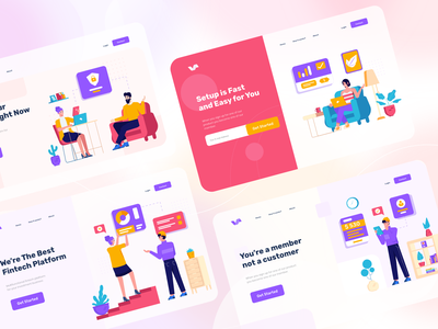 Vavivu Landing Pages header ui character screen landing page flat illustration websites landing pages library
