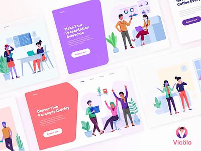 Vicolo Illustrations Kit app illustrations ui header character screen gradient flat landing page illustration
