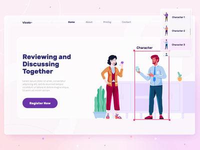Vicolo Illustrations Kit ui8 template illusrations kit design ui header screen flat landing page illustration