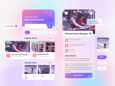 Event App - Eventia ui design booking schedule ux design ui gradient flat illustration app event