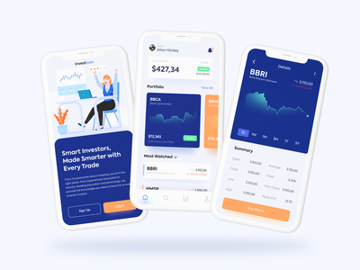 Investasia App flat investment wallet money illustrations character screen illustration uiux app invest