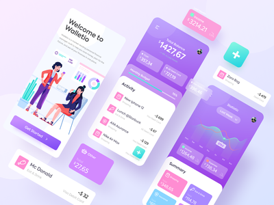 Walletio - Simple Wallet App invest bank design flat 3d ui illustrations character illustration screen money app finance wallet