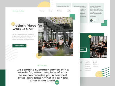 Kaktus Coworking-Space chill aesthetic ui coffee coworking website screen flat landing page