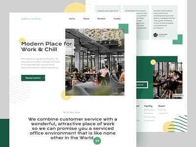 Kaktus Coworking-Space chill aesthetic ui coffee coworking website screen flat landing page