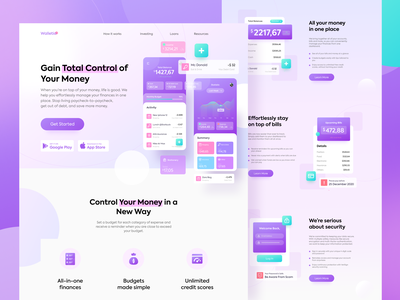 Walettio Landing Pages app illustrations header gradient screen flat landing page illustration financial bank invest wallet finance
