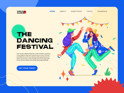 Dance Festival Landing Page ui character flat design screen illustration landing page festival dancing website