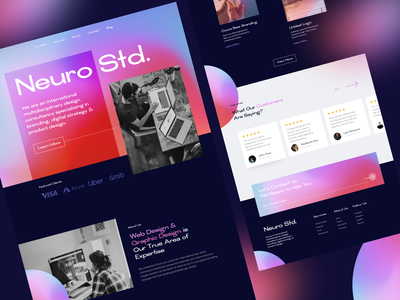 Neuro Studio - Landing Page screen website studio agency branding 3d ui header gradient illustration landing page