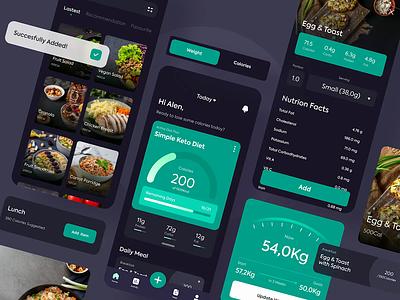 Diet App Interactions fitness training nature lifestyle food chart design screen flat ui app diet