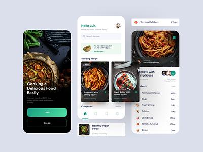 Food Recipe App clean flat ui gradient food app app meals diet culinary recipe food