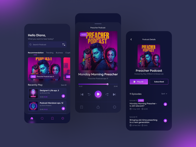Podcast App player music design ui gradient screen app podcast