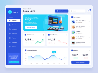 Neuro - Multipurpose Dashboard stats graph uiux chart analytic data isometric 3d illustrations product interface admin dashboard