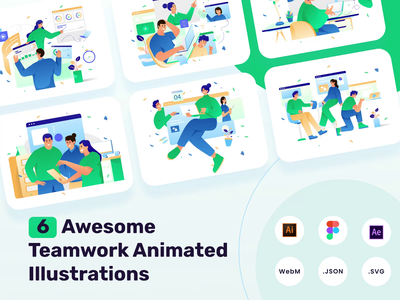 Biggo Animated Illustrations gradient landing page flat illustrations illustrations teamwork motion graphics animation