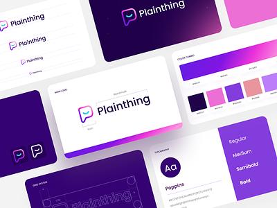 Plainthing Rebranding brand design presentation clean logo grid minimalist brand book mockup creative design ui gradient screen flat brand identity icon logo branding rebranding