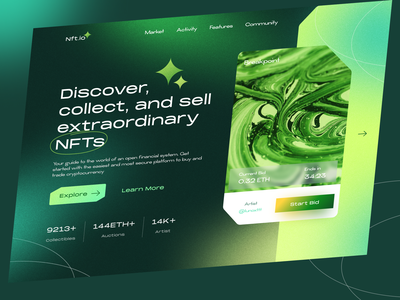 NFT Landing Page Website cryptocurrency crypto art bitcoin coins doge bold noise landing page gradient nft art nft crypto ethereum token