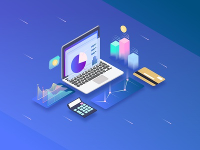 Bussiness Illustration bar screen calculator chart bussiness illustrations 3d laptop isometric