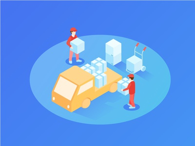 Deploy Everywhere illustration 3d illustration deployment isometric courier box car truck