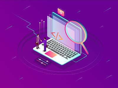Finding IT Jobs laptop 3d illustration isometric job developer technology it