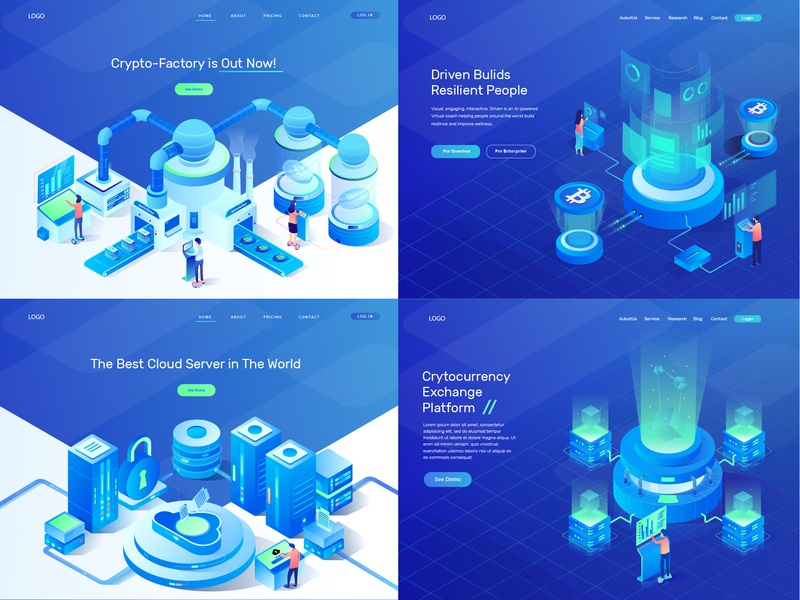 Isometric Illustrations Vol 1 landing page illustration screen cloud server bitcoin analysis data cryptocurrency isometric