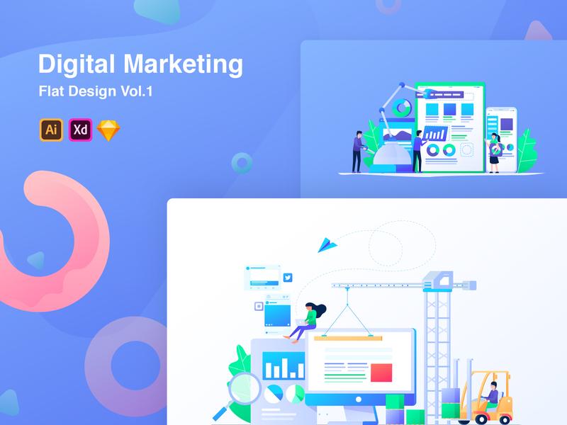 Digital Marketing Flat Illustrations Vol 1 analytic computer pie chart illustrations flat marketing digital