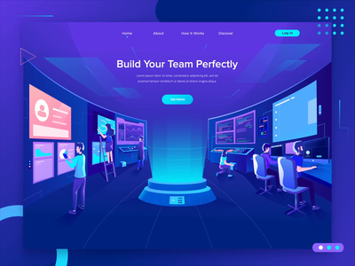 Build Your Team Illustrations Header Concept gradient character team data animation screen analytic illustration
