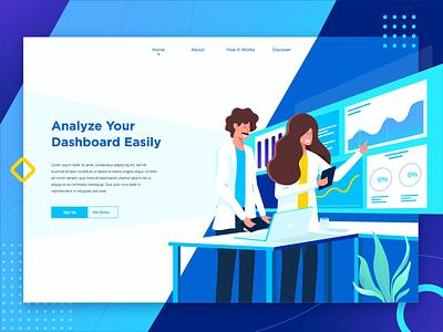 Analyze Dashboard Landing Page Header header screen ui design laptop analyze illustrations landing page dashboard