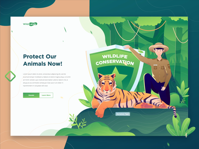 Wild Lands - Animal Conservation Landing Page green jungle character gradient ui ux landing page animal conservation illustrations forest tiger animal