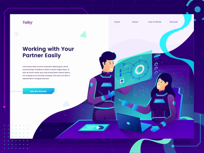 Team Discussion Landing Page Header analytic laptop teamwork team discussion gradient character screen flat landing page illustration