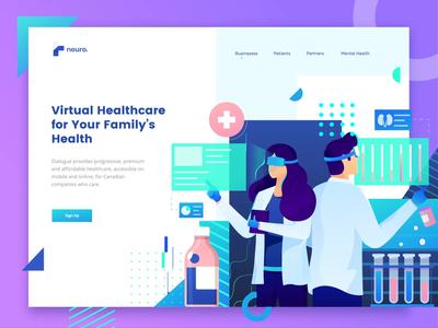 Virtual Healthcare Landing Page Header medic doctor medicine flat header character illustration landing page medical