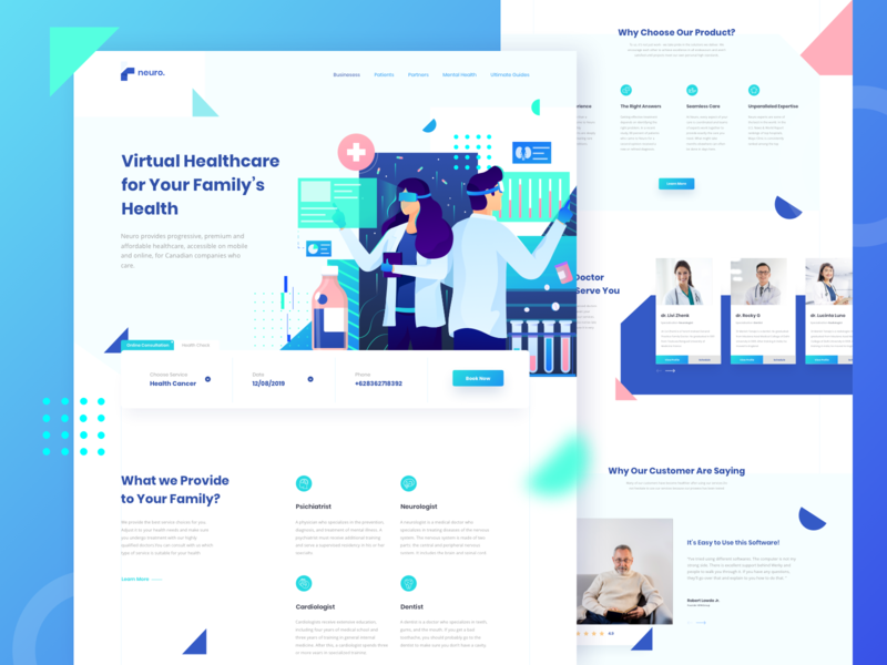 Virtual Healthcare Landing Page header gradient ui design ux ui landing page illustrations flat drugs medical medic virtual doctor