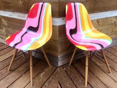 Chair contour psychedelic warp eames wrap furniture asheville orange yellow pink hand-painted chair