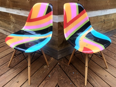 Chair contour warp wrap psychedelic asheville furniture eames colorful hand-painted chair