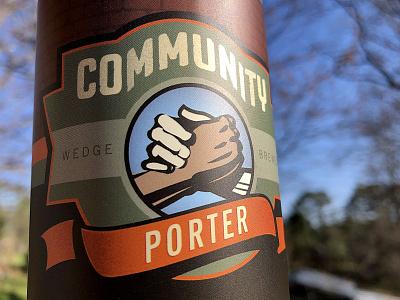 Community Porter Label mark illustration handshake north carolina porter beer art label hands asheville
