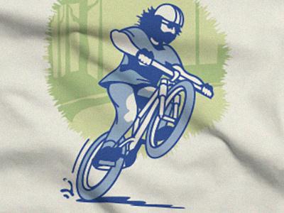 Mountain Biker r. crumb screen print asheville illustration woods beard wheelie ride bike mountain bike