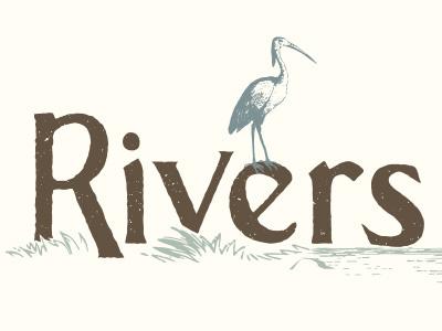Rivers nature natural water bird crane river rivers illustration logo