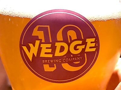 Wedge Brewing Co. 10 Year Anniversary badge pint wedge brewing screen printing brewing north carolina asheville glass branding beer