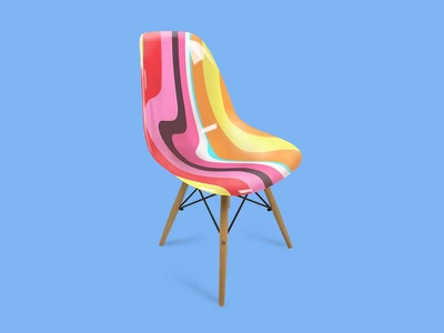 Chair Concept warped plasitc psychedelic pink orange hand painted colorful chair 1960s