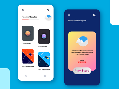 Preview of upcoming wallpapers branding ux ui android app wallpaper