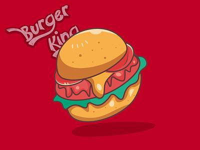Burger King food burger branding logo typography colorful illustration