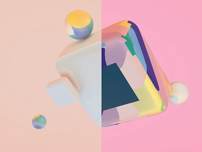 Make Over concept objects 3d blender abstract ui ux colorful design illustration