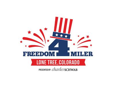 Logo for Freedom 4 Miler non-profit logo design event branding event branding non profit logo design