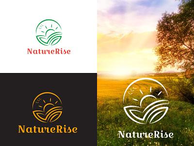 naturerise brand round branding design brand identity brand design illustration branding natural best organic happyness hope sun nature