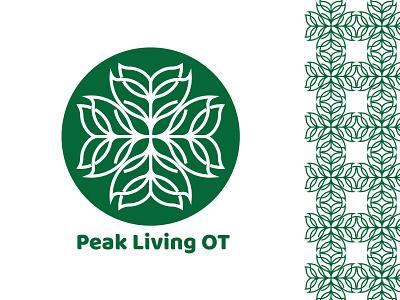 Peak Living OT8 leaf green round brand blue black branding design logo brand identity brand design illustration branding