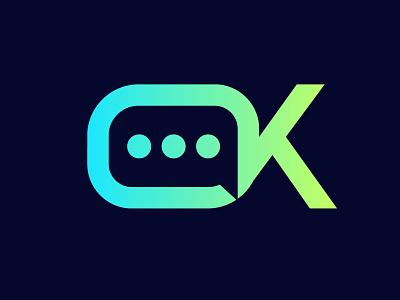 Ookay character 3 dots chat icon chat app chat ok green vector brand branding design logo brand identity illustration brand design branding